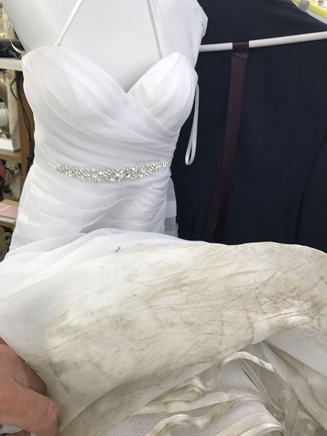Dirty edge of Bridal Gown