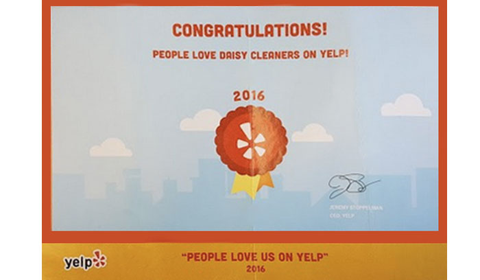2016 Yelp Certificate for Customer Satisfaction