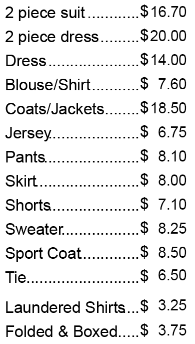 Daisy Cleaner's price list