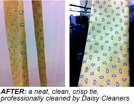 A clean, pressed tie by Daisy Cleaners