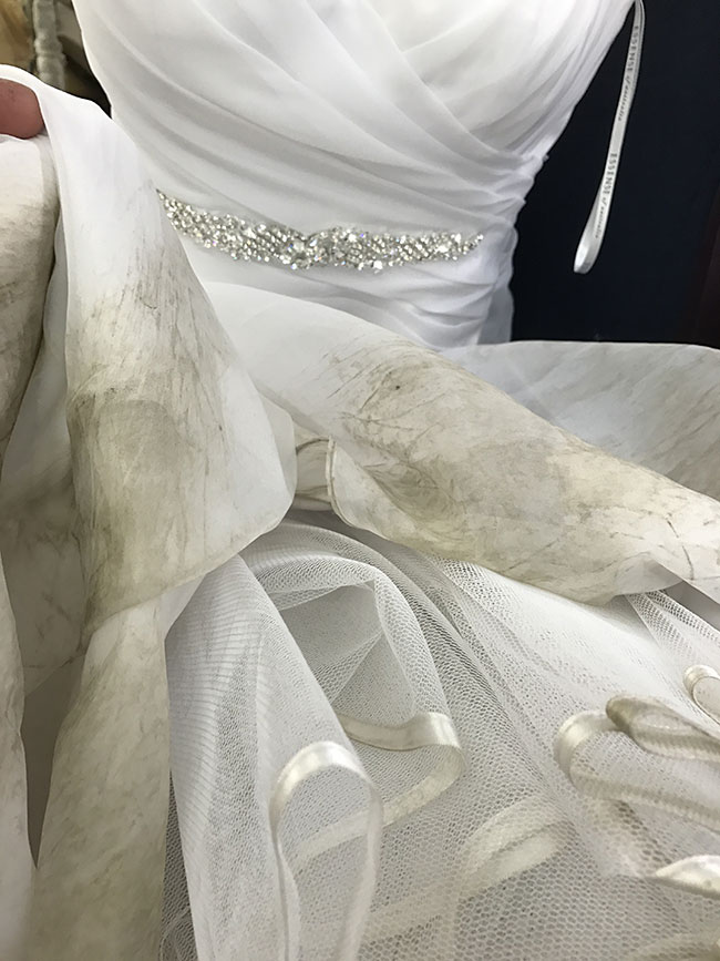 dirty bottom of wedding dress