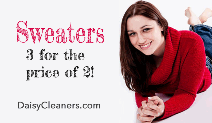 Sweater sale - dryclean 3 for the price of 2 at Daisy Cleaners