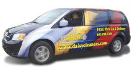 Daisy Cleaners picks up your dry cleaning and drops it off even if you aren't home